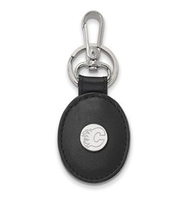 Calgary Flames Sterling Silver and Black Leather Key Chain