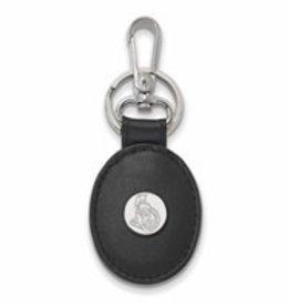 Ottawa Senators Sterling Silver and Black Leather Key Chain