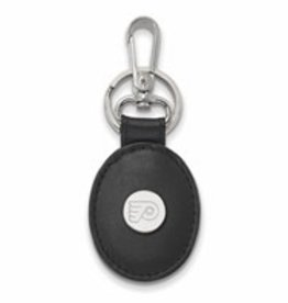 Philadelphia Flyers Sterling Silver and Black Leather Key Chain