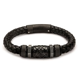 Inox Black Braided Leather with Steel Black Plated Beads Bracelet