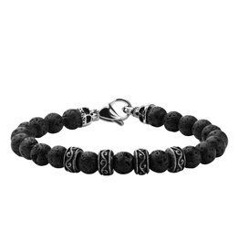 Inox 8mm Black Lava Beads Bracelet