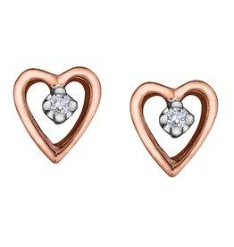Forever Jewellery Rose Gold (0.02cttw) Diamond Heart Earrings