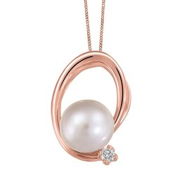 Rose Gold Pearl and (0.025ct) Canadian Diamond Pendant