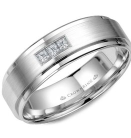 White Gold with Brushed Centre (0.15ct) Diamond Band