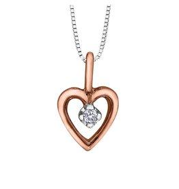 Forever Jewellery White & Rose Gold (0.01cttw) Diamond Heart Pendant