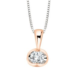 Forever Jewellery White & Rose Gold (0.04cttw) Halfmoon Set Diamond Pendant