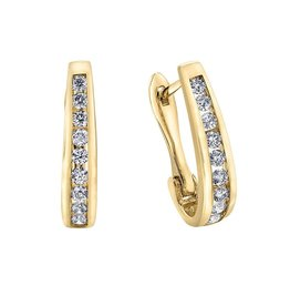 Forever Jewellery Yellow Gold (0.10cttw) Channel Set Diamond Hoop Earrings
