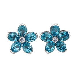 Forever Jewellery White Gold (0.01ct) Diamond and Swiss Blue Topaz Earrings