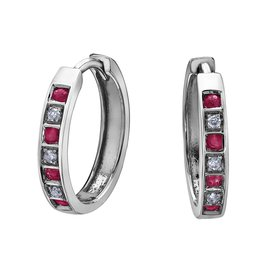Forever Jewellery White Gold (0.03cttw) Diamond and Ruby Earrings