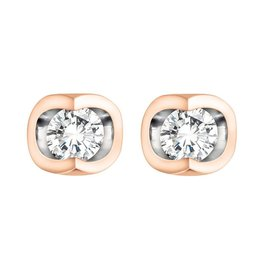 Forever Jewellery Rose Gold (0.06cttw) Halfmoon Set Diamond Earrings