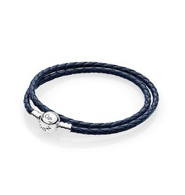 Pandora 590745CDB - Dark Blue Braided Double-Leather Charm Bracelet