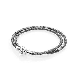 Pandora 590745CSG - Silver Grey Braided Double-Leather Charm Bracelet