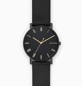 Skagen Signatur Black Leather Watch