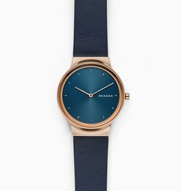 Skagen Freja Navy Blue Leather Watch