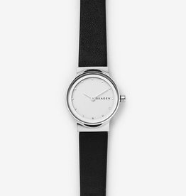 Skagen Freja Black Leather Watch