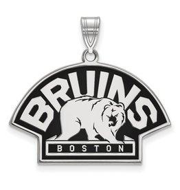 Boston Bruins Sterling Silver Enamel Pendant