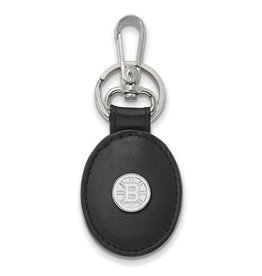 Boston Bruins Sterling Silver and Black Leather Key Chain
