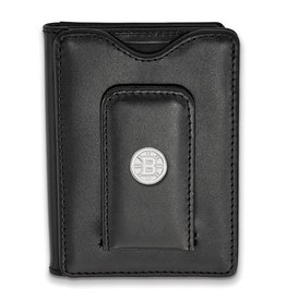 Boston Bruins Sterling Silver and Black Leather Wallet