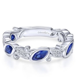14k White Gold Stackable Sapphire and Diamond Ring