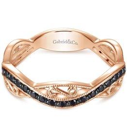 14k Rose Gold Stackable Black Diamond Ladies Ring