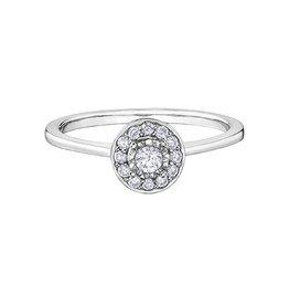 Halo Diamond (0.19ct) White Gold Ring