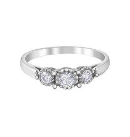 Three Stone Diamond (0.29ct) White Gold Ring
