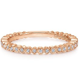 14k Rose Gold Diamond Stackable Ladies Ring
