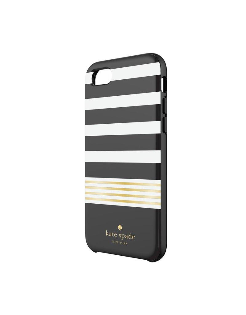 kate spade new york kate spade Comold Case for iPhone 6/6s/7 - Black / White / Gold Foil Stripe