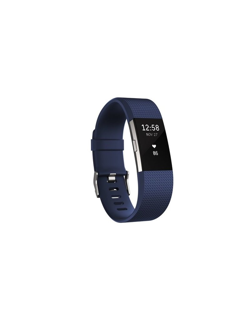 FitBit Charge 2 Heart Rate and Fitness Wristband - Large Blue
