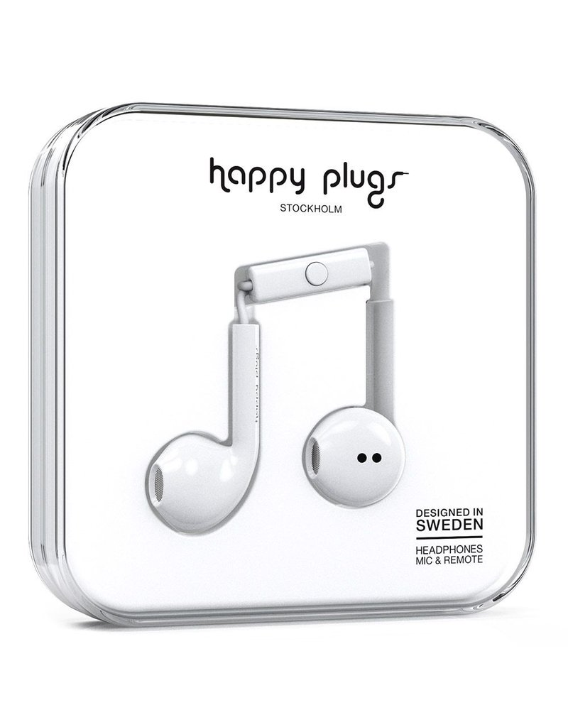 Happy Plugs Earbud Plus with Remote & Mic - White