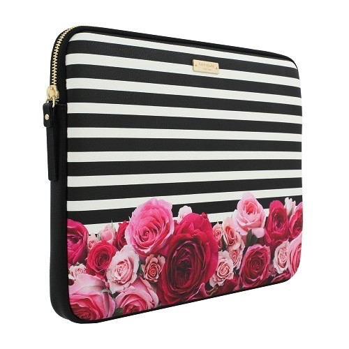 "kate spade new york kate spade Sleeve for 13"" Macbook - Photo Real Rose / Black & Cream Stripe"