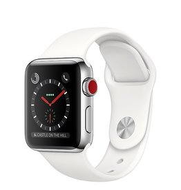 Apple Apple Watch Series 3 GPS + Cellular 38mm Stainless Steel Case with Soft White Sport Band