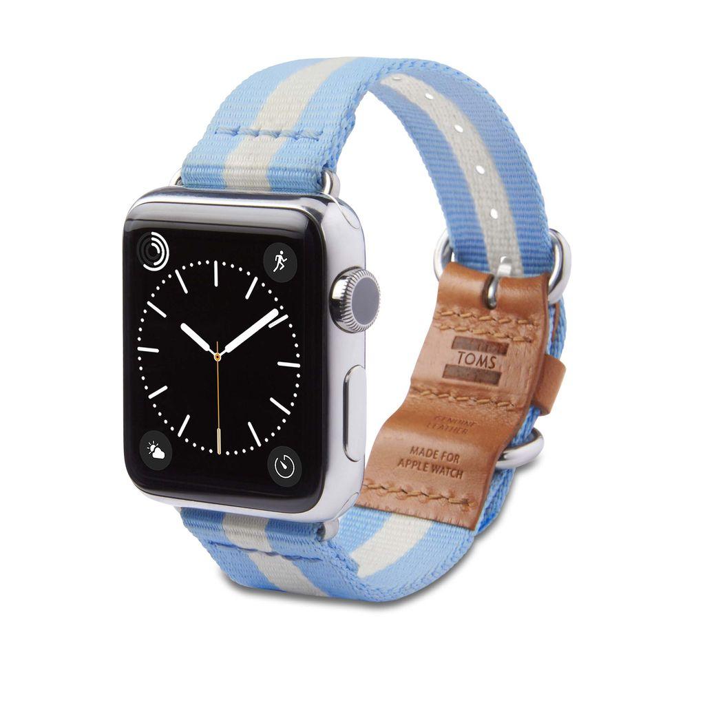 TOMS TOMS Apple Watch 38mm Utility Band - Light Blue Stripe