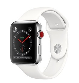 Apple Apple Watch Series 3 GPS + Cellular 42mm Stainless Steel Case with Soft White Sport Band