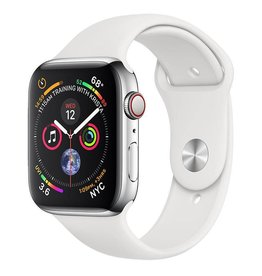 Apple Watch Series 4 GPS + Cellular, 44mm Stainless Steel Case with White Sport Band Deposit (Non-refundable)