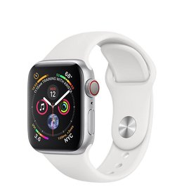 Apple Apple Watch Series 4 GPS + Cellular, 40mm Silver Aluminium Case with White Sport Band