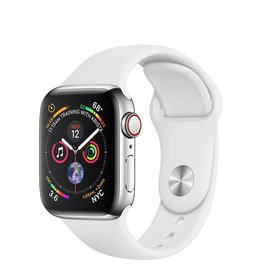 Apple Apple Watch Series 4 GPS + Cellular, 40mm Stainless Steel Case with White Sport Band