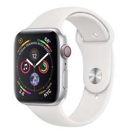 Apple Apple Watch Series 4 GPS + Cellular, 44mm Silver Aluminium Case with White Sport Band