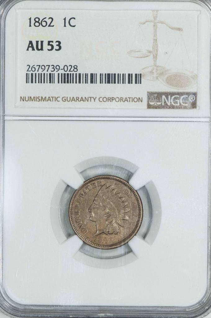 1862 NGC AU53 Indian Head Cent
