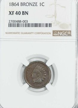1864 Bronze NGC XF40BN Indian Head Cent