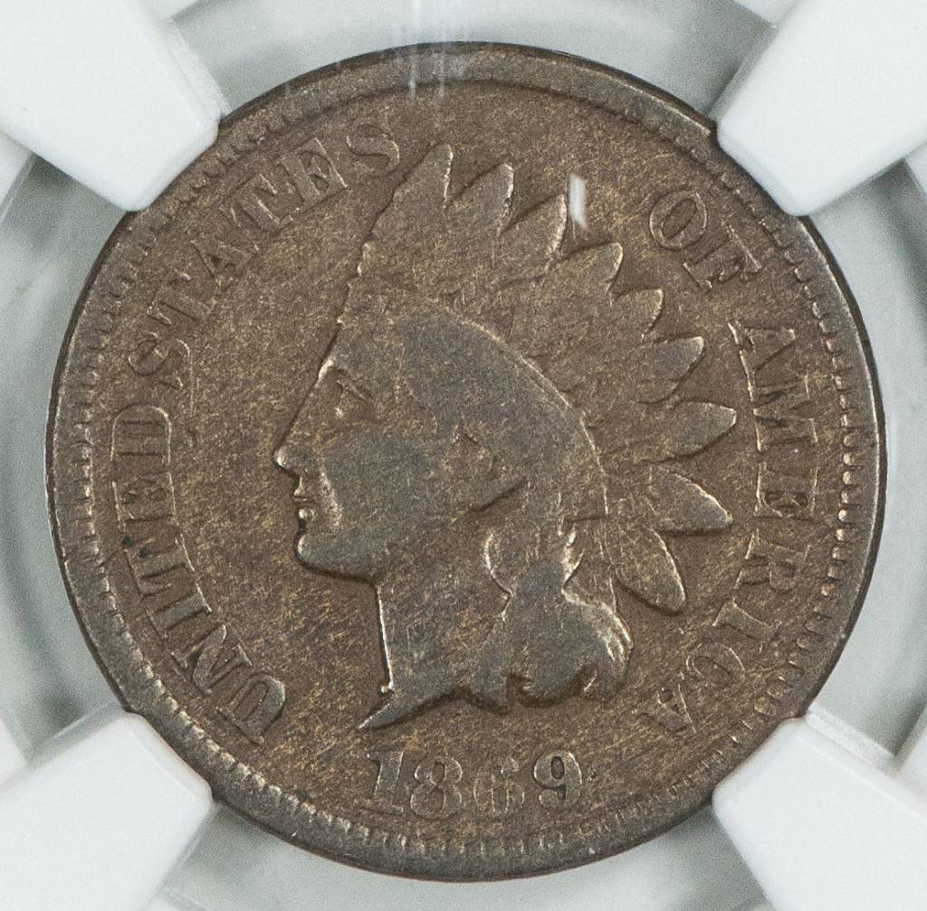 1869 NGC F15BN Indian head Cent