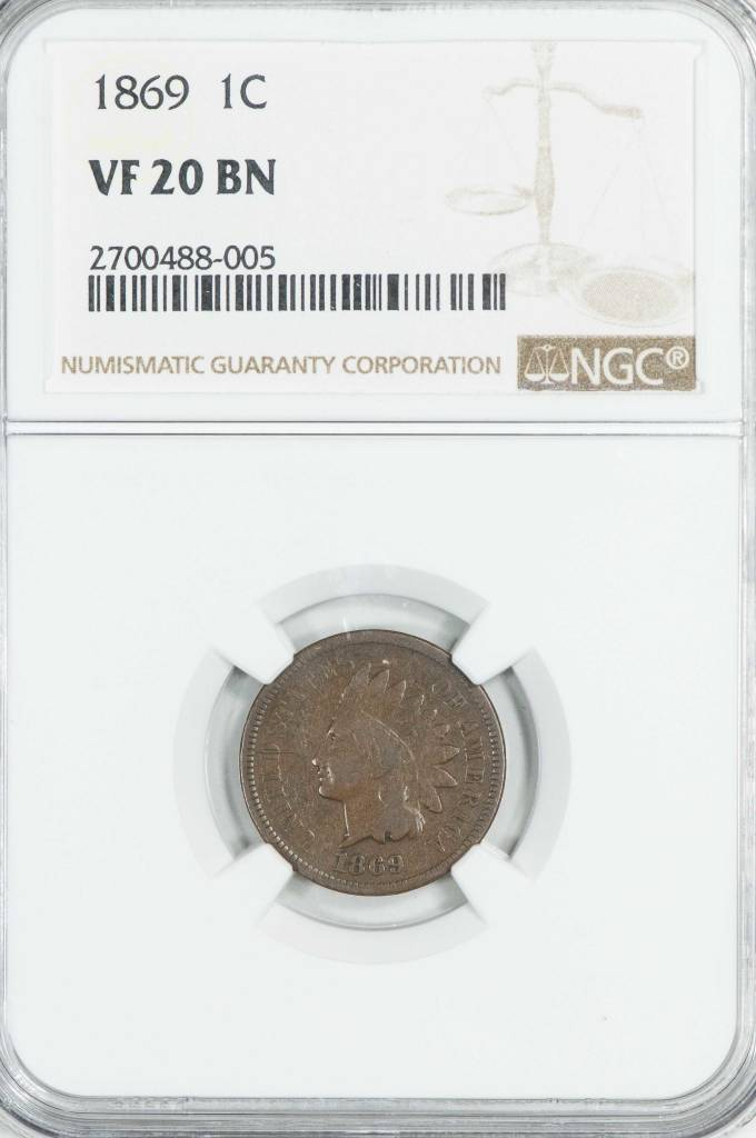 1869 NGC VF20BN Indian Head Cent