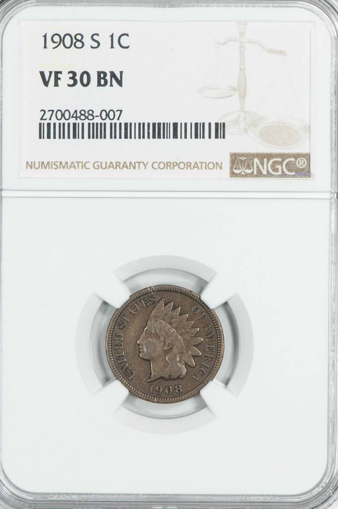1908 S NGC VF30BN Indian head Cent