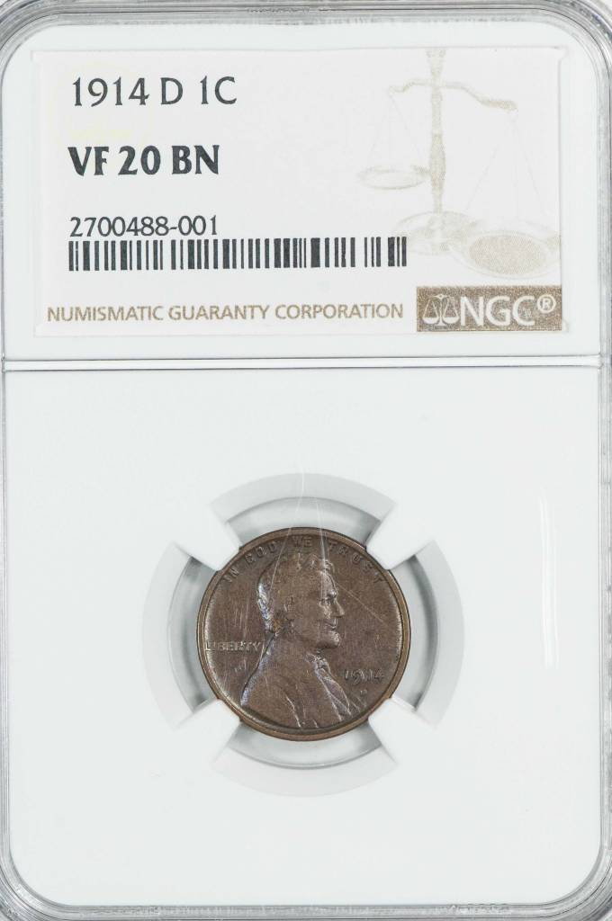 1914 D NGC VF20BN Lincoln Cent