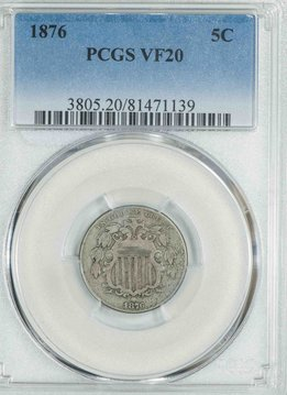 1876 PCGS VF20 Shield Nickel