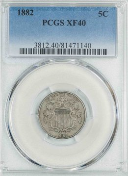 1882 PCGS XF40 Shield Nickel