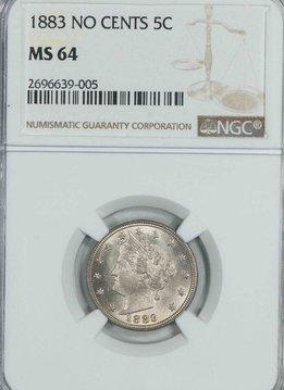 1883 No Cents NGC MS64 Liberty Nickel