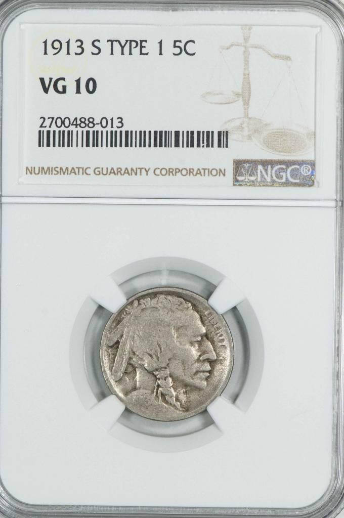 1913 S Type 1 NGC VG10 Buffalo Nickel