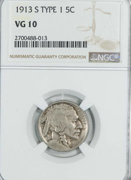 1913 S Type 1 NGC VG10 Buffalo Nickel