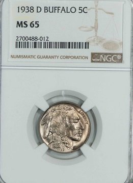 1938 D NGC MS65 Buffalo Nickel